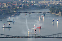 0708185537a Red Bull Air Race international air show practice runs over the river Danube, Budapest preceding the anniversary of Hungarian state foundation. Hungary. Saturday, 18. August 2007. ATTILA VOLGYI