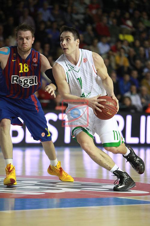 Euroleague Basketball 2012/13 Top 16 Round 6.<br /> FC Barcelona Regal vs Montepaschi Siena: 85-66.<br /> CJ Wallace vs Kristjan Kangur.