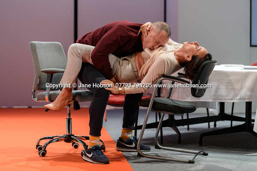 """Edinburgh, UK. 13.08.19. Internationaal Theater Amsterdam/ Robert Icke presents """"Oedipus"""", in a new adaption (after Sophocles) by Robert Icke, at the King's Theatre, as part of the Edinburgh International Festival.  Translated into Dutch by Rob Klinkenberg, directed by Robert Icke, with set design by Hildegard Bechtler, costume design by Wojciech Dziedzic and lighitng design by Natasha Chivers. Picture shows: Hans Kesting (Oedipus), Marieke Heebink (Jocaste). Photograph © Jane Hobson"""