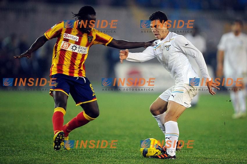"""Hernanes Lazio, Christian Obodo Lecce.Lecce 10/12/2011 Stadio """"Via del MAre"""".Football Calcio Serie A 2011/2012.Lecce Vs Lazio.Foto Insidefoto ."""