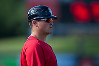 Kannapolis Intimidators manager Justin Jirschele (9) coaches third base during the game against the Delmarva Shorebirds at Kannapolis Intimidators Stadium on July 2, 2017 in Kannapolis, North Carolina.  The Shorebirds defeated the Intimidators 5-4.  (Brian Westerholt/Four Seam Images)