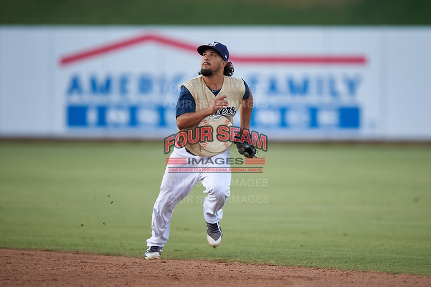 AZL Brewers Gold second baseman Matthew Mika (15) pursues a pop fly during an Arizona League game against the AZL Brewers Blue on July 13, 2019 at American Family Fields of Phoenix in Phoenix, Arizona. The AZL Brewers Blue defeated the AZL Brewers Gold 6-0. (Zachary Lucy/Four Seam Images)