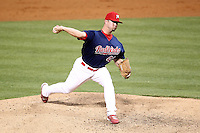 Memphis Redbirds pitcher Cory Rauschenberger #43 delivers a pitch during a game versus the Round Rock Express at Autozone Park on April 28, 2011 in Memphis, Tennessee.  Memphis defeated Round Rock by the score of 6-5 in ten innings.  Photo By Mike Janes/Four Seam Images