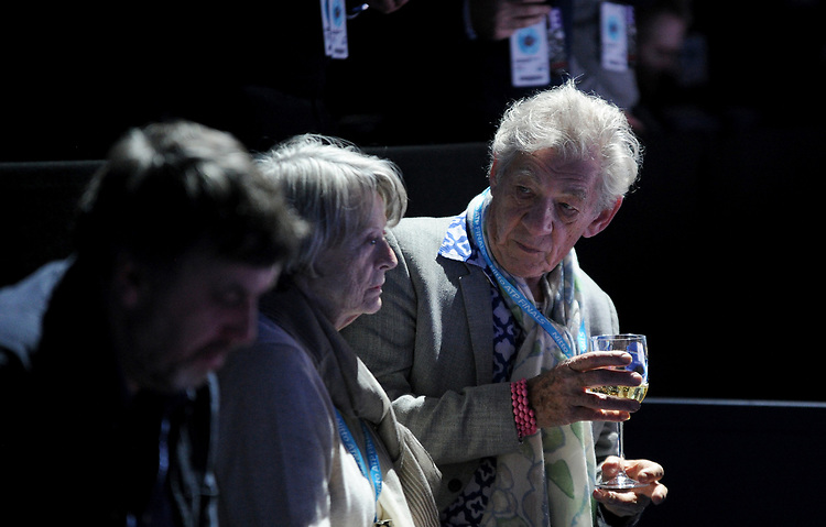 Sir Ian McKellen and Dame Maggie Smith enjoying the tennis<br /> <br /> Photographer Hannah Fountain/CameraSport<br /> <br /> International Tennis - Nitto ATP World Tour Finals Day 7 - O2 Arena - London - Saturday 17th November 2018<br /> <br /> World Copyright © 2018 CameraSport. All rights reserved. 43 Linden Ave. Countesthorpe. Leicester. England. LE8 5PG - Tel: +44 (0) 116 277 4147 - admin@camerasport.com - www.camerasport.com