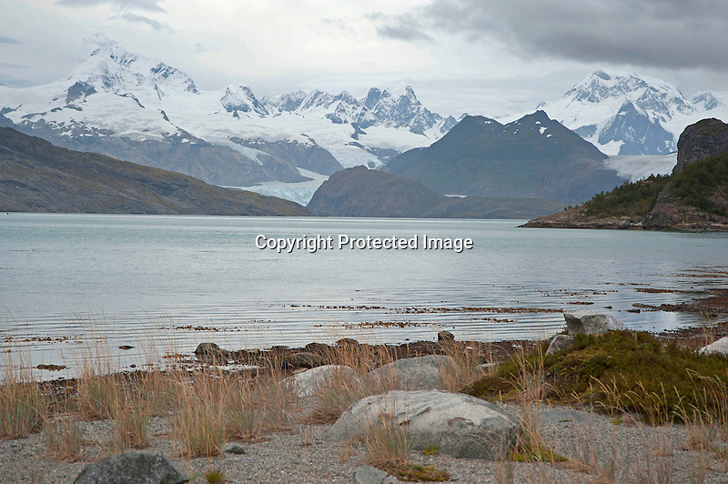 View of Darwin Mountain Range with Marinelli Glacier from Ainsworth Bay in Patagonia Chile