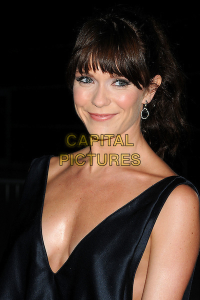 "Katie Aselton.""It's Always Sunny in Philadelphia"" Season 7 and ""The League"" Season 3 Los Angeles Premiere held at the Cinerama Dome, Hollywood, California, USA..September 13th, 2011.headshot portrait cleavage low cut neckline dress black blue sleeveless silk satin.CAP/ADM/BP.©Byron Purvis/AdMedia/Capital Pictures."