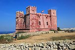 St Agatha's Red Tower fortress, Melliaha, Marfa Peninsula,  Republic of Malta built 1649