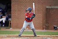 Alex Burman (32) of the NJIT Highlanders at bat against the High Point Panthers at Williard Stadium on February 18, 2017 in High Point, North Carolina. The Highlanders defeated the Panthers 4-2 in game two of a double-header. (Brian Westerholt/Four Seam Images)