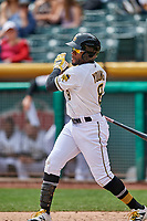 Eric Young Jr. (8) of the Salt Lake Bees follows through on his swing against the El Paso Chihuahuas in Pacific Coast League action at Smith's Ballpark on April 30, 2017 in Salt Lake City, Utah. El Paso defeated Salt Lake 3-0. This was Game 1 of a double-header. (Stephen Smith/Four Seam Images)