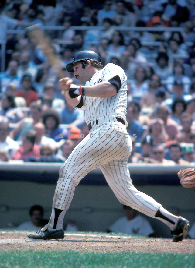 New York Yankees Thurmon Munson(15) in action during a game from his 1978 season at Yankee Stadium in the Bronx, New York.  Thurmon Munson played for 11 years all with the Yankees,  was a 7-time All-Star and won the Rookie of the Year in 1970 and American League MVP in 1976David Durochik/SportPics