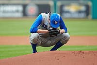 Kentucky Wildcats starting pitcher Sean Hjelle (30) kneels behind the mound during the game against the Houston Cougars in game two of the 2018 Shriners Hospitals for Children College Classic at Minute Maid Park on March 2, 2018 in Houston, Texas.  The Wildcats defeated the Cougars 14-2 in 7 innings.   (Brian Westerholt/Four Seam Images)