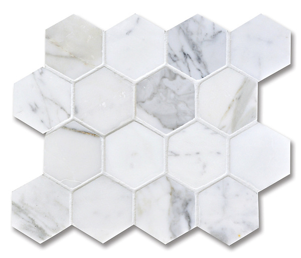 7cm Hex, shown in Statuary Carrara (available in honed or polished finish) is part of New Ravenna's Studio Line of ready to ship mosaics.