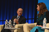 """Washington, DC - April 15, 2016: World Bank President Jim Yong Kim chats with H.M. Queen Rania Al Abdullah, Hashemite Kingdom of Jordan, before participating in the """"Forced Displacement: A Global Development Challenge"""" discussion at the World Bank Group MC building in the District of Columbia during the IMF/World Bank Spring Meetings, April 15, 2016.  (Photo by Don Baxter/Media Images International)"""