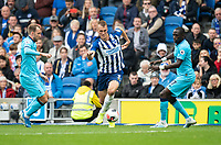 Brighton & Hove Albion's Dan Burn (centre) under pressure from Tottenham Hotspur's Christian Eriksen (left) & Moussa Sissoko (right) <br /> <br /> <br /> Photographer David Horton/CameraSport<br /> <br /> The Premier League - Brighton and Hove Albion v Tottenham Hotspur - Saturday 5th October 2019 - The Amex Stadium - Brighton<br /> <br /> World Copyright © 2019 CameraSport. All rights reserved. 43 Linden Ave. Countesthorpe. Leicester. England. LE8 5PG - Tel: +44 (0) 116 277 4147 - admin@camerasport.com - www.camerasport.com