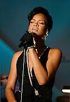 SANTA MONICA, CA. - October 15: Singer Rihanna  performs during the 2008 Spirit Of Life Award Dinner on October 15, 2008 in Santa Monica, California.