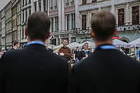 World Youth day Krakow 2016<br /> gruppo di religiosi, due preti di spalle, di fronte un frate e una suora