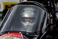 Sept. 1, 2013; Clermont, IN, USA: NHRA top fuel dragster driver Damien Harris during qualifying for the US Nationals at Lucas Oil Raceway. Mandatory Credit: Mark J. Rebilas-