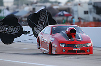 Apr. 26, 2013; Baytown, TX, USA: NHRA pro stock driver Rickie Jones during qualifying for the Spring Nationals at Royal Purple Raceway. Mandatory Credit: Mark J. Rebilas-