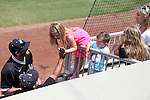 04 June 2016: Nova Southeastern head coach Greg Brown (left) with his children Kooper, Kruz, Kennadi, and his wife Shairin (right). The Nova Southeastern University Sharks played the Millersville University Marauders in Game 14 of the 2016 NCAA Division II College World Series  at Coleman Field at the USA Baseball National Training Complex in Cary, North Carolina. Nova Southeastern won the game 8-6 and clinched the NCAA Division II Baseball Championship.