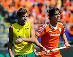 The Hague, Netherlands, June 15: Jacob Whetton #12 of Australia and Wouter Jolie #7 of The Netherlands in action during the field hockey gold match (Men) between Australia and The Netherlands on June 15, 2014 during the World Cup 2014 at Kyocera Stadium in The Hague, Netherlands. Final score 6-1 (2-1)  (Photo by Dirk Markgraf / www.265-images.com) *** Local caption ***
