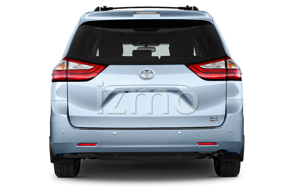 Straight rear view of2015 Toyota Sienna XLE V6 8-Passenger 5 Door Mini Van Rear View  stock images