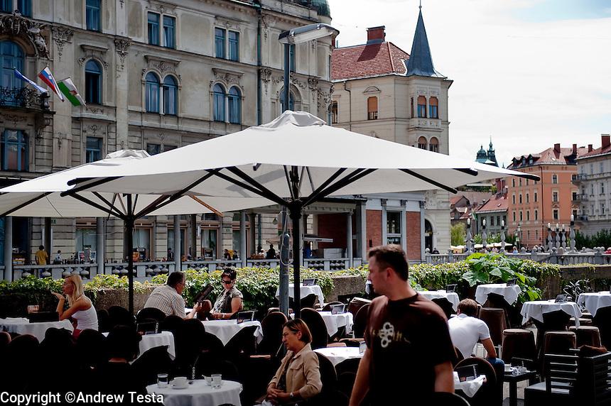 SLOVENIA. Ljubljana . 26th July 2011.<br /> Cafe scene in Ljubljana.<br /> &copy;Andrew Testa for the New York Times