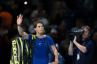 Rafael Nadal of Spain (1) waves to the crowd after his defeat against David Goffin of Belgium (7) during their Pete Sampras group match - Goffin def Nadal 7-6, 6-7, 6-4<br /> <br /> Photographer Craig Mercer/CameraSport<br /> <br /> International Tennis - Nitto ATP World Tour Finals - O2 Arena - London - Day 2  - Monday 13th November 2017<br /> <br /> World Copyright &copy; 2017 CameraSport. All rights reserved. 43 Linden Ave. Countesthorpe. Leicester. England. LE8 5PG - Tel: +44 (0) 116 277 4147 - admin@camerasport.com - www.camerasport.com