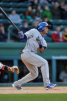 Third baseman Jonathan Piron (9) of the Asheville Tourists bats in a game against the Greenville Drive on Thursday, April 7, 2016, at Fluor Field at the West End in Greenville, South Carolina. Greenville won, 4-3. (Tom Priddy/Four Seam Images)