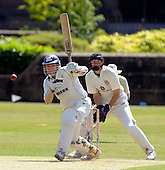Scottish National Cricket League - Premier Div - West of Scotland CC V Aberdeenshire, at Hamilton Cres, Glasgow - two former Scotland wicket-keepers, Dougie Lockhart batting for West and Colin Smith with 'Shires gloves, get together at Hamilton Crescent - Picture by Donald MacLeod 11.07.09