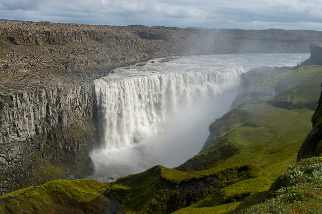 The Dettifoss, a waterfall in Vatnajökull National Park in Northeast Iceland, is one of the most powerful waterfalls in Europe.