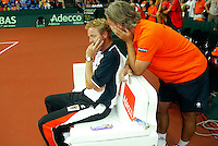23-9-06,Leiden, Daviscup Netherlands-Tsjech Republic, Dutch captain Tjerk Bogtstra and his assistant Hugo Ekker are sad after defeat