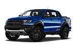 Stock pictures of low aggressive front three quarter view of 2019 Ford Ranger-Raptor - 4 Door Pick-up Low Aggressive