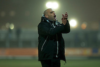Grimsby manager Marcus Bignot claps the fans at full time of the Sky Bet League 2 match between Newport County and Grimsby Town at Rodney Parade, Newport, Wales on 14 February 2017. Photo by Mark  Hawkins / PRiME Media Images.
