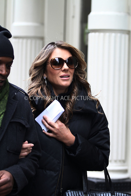 WWW.ACEPIXS.COM . . . . .  ....February 1 2012, New York City....Actress Liz Hurley was on the set of the tv show 'Gossip girl' on February 1 2012 in New York City....Please byline: CURTIS MEANS - ACE PICTURES.... *** ***..Ace Pictures, Inc:  ..Philip Vaughan (212) 243-8787 or (646) 769 0430..e-mail: info@acepixs.com..web: http://www.acepixs.com