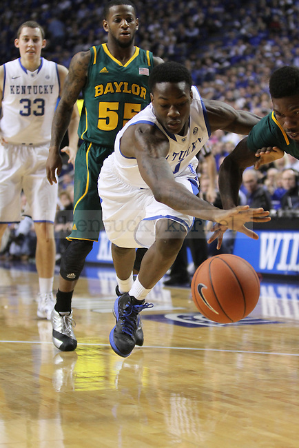 Freshman Guard Archie Goodwin dribbles the ball during the University of Kentucky basketball game against Baylor at Rupp Arena on Saturday December 1st, 2012. Kentucky lost to Baylor 64 to 55. Photo by Kirsten Holliday | Staff