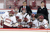David Cotton (BC - 17), Colin White (BC - 18), JD Dudek (BC - 15), Marty McInnis (BC - Assistant Coach), Julius Mattila (BC - 26), Chris Calnan (BC - 11), Mike Ayers (BC - Assistant Coach) - The Boston College Eagles defeated the University of Vermont Catamounts 7-4 on Saturday, March 11, 2017, at Kelley Rink to sweep their Hockey East quarterfinal series.The Boston College Eagles defeated the University of Vermont Catamounts 7-4 on Saturday, March 11, 2017, at Kelley Rink to sweep their Hockey East quarterfinal series.