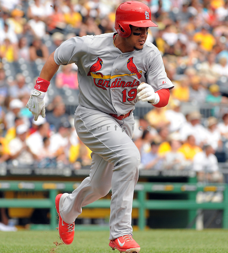 St. Louis Cardinals Jon Jay (19) during a game against the Pittsburgh Pirates on August 27, 2014 at PNC Park in Pittsburgh PA. The Pirates beat the Cardinals 3-1.