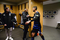 San Jose, CA - Saturday, March 04, 2017: Marvell Wynne, Chris Wondolowski after a Major League Soccer (MLS) match between the San Jose Earthquakes and the Montreal Impact at Avaya Stadium.