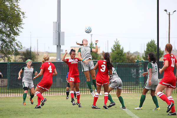 Denton, TX - AUGUST 31: Jackie Moreau #5 of the North Texas Mean Green soccer in action against University of Houston Cougars at the Mean Green Village Soccer Field on August 31, 2012 in Denton, Texas. NT won 2-1.(Photo by Rick Yeatts)