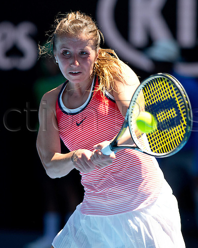 25.01.2016. Melbourne Park, Melbourne, Australia. Australian Open Tennis Championships. Annika Beck in action at the start of the second week.