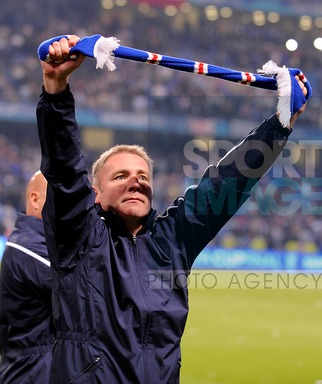 Rangers Assistant Coach Ally McCoist salutes the fans at the end of the match during the Europa League Final match at The Etihad Stadium, Manchester. Picture date 14th May 2008. Picture credit should read: Simon Bellis/Sportimage