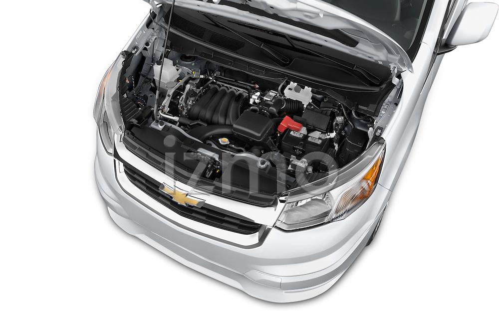 Car Stock2015 Chevrolet City Express LT 5 Door Cargo Van Engine high angle detail view