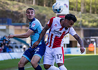 Nick Freeman of Wycombe Wanderers and Jordan Cranston of Cheltenham Town during the Sky Bet League 2 match between Wycombe Wanderers and Cheltenham Town at Adams Park, High Wycombe, England on the 8th April 2017. Photo by Liam McAvoy.