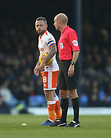 Blackpool's Jay Spearing has words with referee Nicholas Kinseley<br /> <br /> Photographer Rob Newell/CameraSport<br /> <br /> The EFL Sky Bet League One - Southend United v Blackpool - Saturday 17th November 2018 - Roots Hall - Southend<br /> <br /> World Copyright © 2018 CameraSport. All rights reserved. 43 Linden Ave. Countesthorpe. Leicester. England. LE8 5PG - Tel: +44 (0) 116 277 4147 - admin@camerasport.com - www.camerasport.com