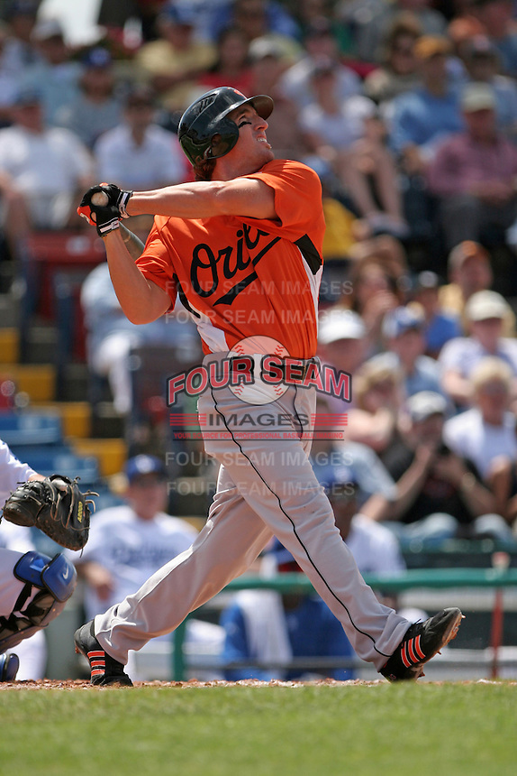 Baltimore Orioles Jay Gibbons during a Grapefruit League Spring Training game at Holman Stadium on March 22, 2007 in Vero Beach, Florida.  (Mike Janes/Four Seam Images)