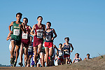 October 29, 2011; Belmont, CA, USA; San Francisco Dons runner Jesus Romo (172), Santa Clara Broncos runner Kevin Oliver (190), Santa Clara Broncos runner Austin Jones (188), Gonzaga Bulldogs runner Nate Gesell (45) competes during the WCC Cross Country Championships at Crystal Springs.
