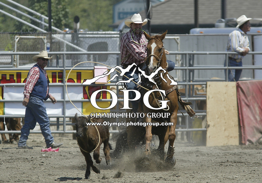 29 June 2008:  Tim Yore from Winlock, Washington scored a time of 22.4 in the Tie Down competition at the ThunderBird Pro Rodeo in Bremerton, Washington.