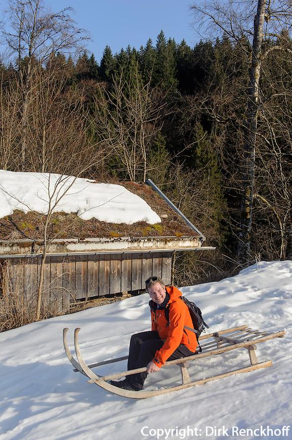 H&ouml;rnerschlitten bei Alpe Bl&auml;sse bei Ofterschwang im Allg&auml;u, Bayern, Deutschland<br /> horned sledge (H&ouml;rnerschlitten) near Alpe Bl&auml;sse, Ofterschwang. Bavaria, Germany