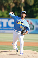 Myrtle Beach Pelicans pitcher Duane Underwood Jr. in action during a game against the Potomac Nationals at Ticketreturn.com Field at Pelicans Ballpark on May 22, 2015 in Myrtle Beach, South Carolina.  Myrtle Beach defeated Potomac 8-4. (Robert Gurganus/Four Seam Images)