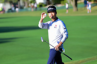 Kevin Na (USA) after sinking his putt on 5 during round 4 of the World Golf Championships, Dell Technologies Match Play, Austin Country Club, Austin, Texas, USA. 3/25/2017.<br /> Picture: Golffile | Ken Murray<br /> <br /> <br /> All photo usage must carry mandatory copyright credit (&copy; Golffile | Ken Murray)